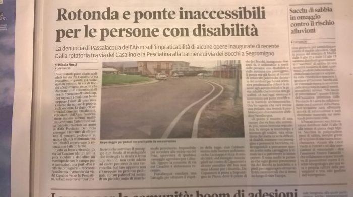 Rotonda e ponte Inaccessibili per le persone con Disabilità – Il Tirreno di Lucca–